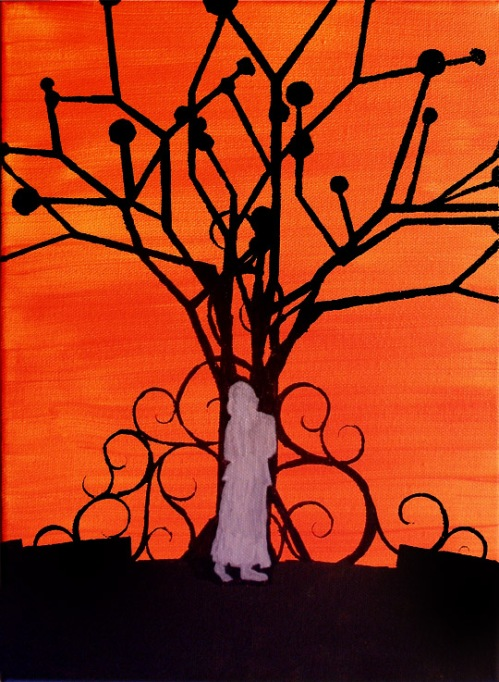 'Beauty Tree' Stencil Art on Canvas by 26PM