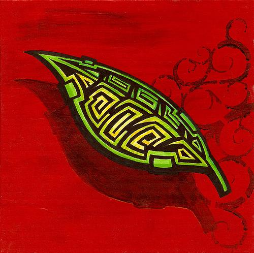 'Leaf' Stencil Art on Canvas by 26PM