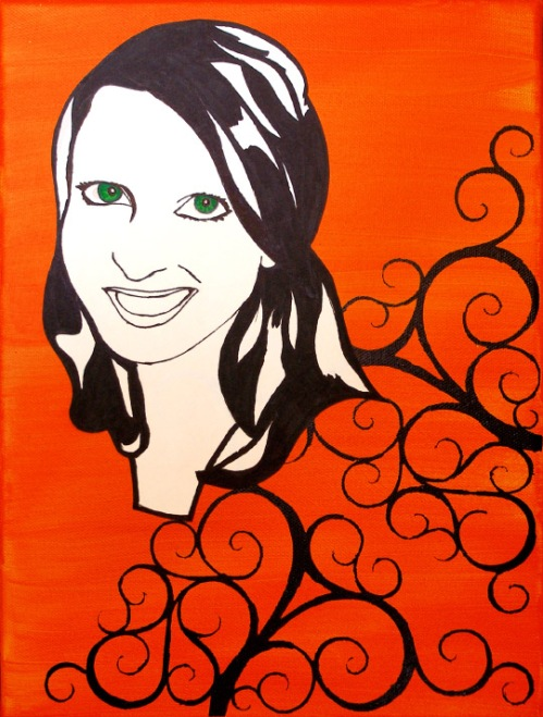 'Portrait' Stencil Art on Canvas by 26pm