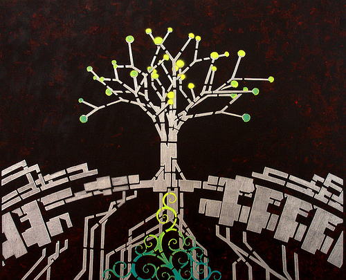 'Tree' Stencil Art on Canvas by 26PM