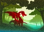 landscape digital image of red dragon in green meadow, created from hand-drawn swirls. 26PM Creatures Illustration Design, Josiah Munsey