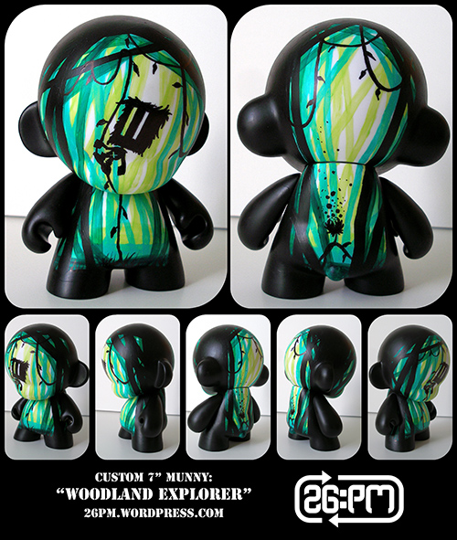 "Commissioned custom 7"" Munny. Hand painted with acrylic paints and black marker. Green, black, 26:PM, Josiah Munsey, vinyl toy"